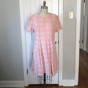 ModCloth Fit and Flare Pink Embroidered Dress